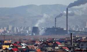 Smoke billows from the chimneys of a coal-burning power plant in Ulaanbaatar, Mongolia, in 2011
