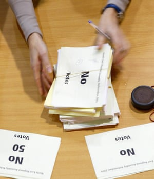 Votes being counted in the north-east referendum at the Crowtree leisure centre in Sunderland in 2004.