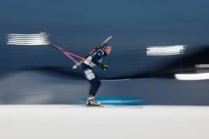 Great Britain's Amanda Lightfoot competes in the women's biathlon 15km individual.