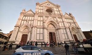Police in front of the Basilica di Santa Croce.