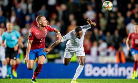 Vladimir Coufal (left) battles with Raheem Sterling during the Czech Republic's victory against England in October 2019.