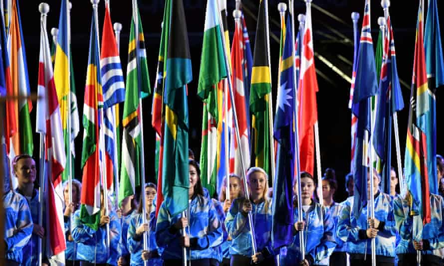 Flag bearers in the opening ceremony Commonwealth Game on the Gold Coast on 4 April.