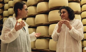 Taste test … Samrin Nosrat, right, in Salt Fat Acid Heat.