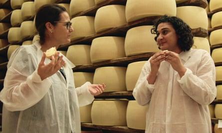 Taste test … Samrin Nosrat, right, in Salt Fat Acid Heat.