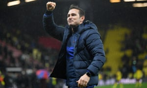 Frank Lampard celebrates with the Chelsea fans.