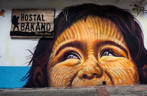 Eyes right: a mural of an indigenous child in the Candelaria district