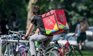 A Just Eat hot food delivery cyclist in the UK.