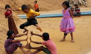 Rohingya refugee children plays in the Balukhali refugee camp in Cox's Bazar