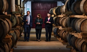 The Scottish Conservative leader, Ruth Davidson, right, with her sole MEP, Nosheena Mobarik, on a visit to a distillery