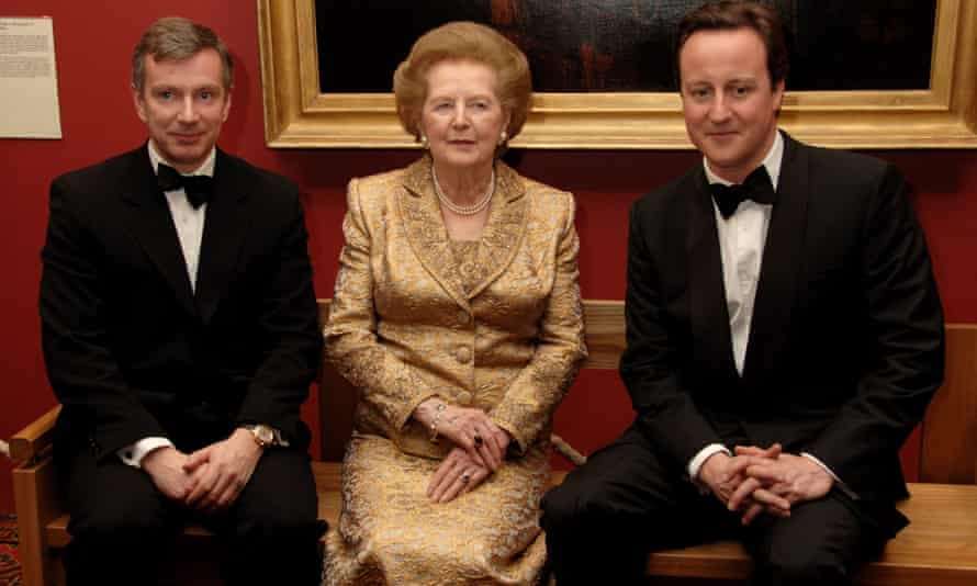 Simon Robey with Margaret Thatcher and David Cameron in 2008