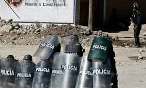 Police in Espinar, Peru, during a rally in 2012 when protesters demonstrated against Xstrata and pollution of rivers.