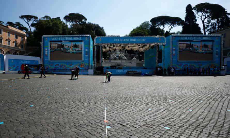 A fan zone in the Piazza del Popolo in Rome.