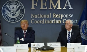 Trump and Pence visit FEMA headquarters for a briefing on Hurricane Laura.