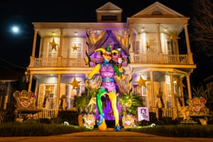 A home decorated with a Mardi Gras jester