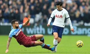 Ryan Fredericks of West Ham United fouls Heung-Min Son of Tottenham Hotspur and receives a yellow card.