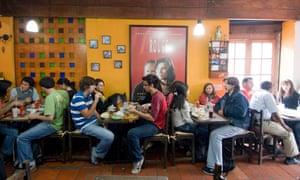 Students in a restaurant in La Candelaria, Bogotá