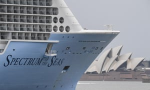 Royal Caribbean's Spectrum of the Seas arrives in Sydney Harbour to receive some fuel and food before being requested to leave on 3 April 2020
