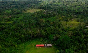 Aerial view of an improvised church where the massacre occurred, in Alto Terrón.