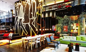Living room area of the CitizenM hotel in New York's Times Square