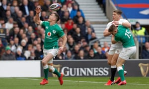 Johnny Sexton fumbles the ball to let George Ford in.
