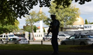 Security measures are taken around Al Noor Mosque after Friday's terrorist attacks in Christchurch