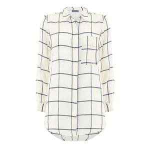 grid checked shirt black and white