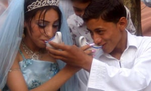 A young Afghan couple during their wedding ceremony
