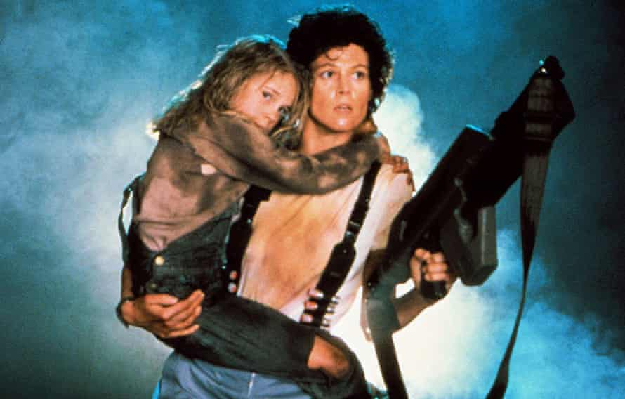With Carrie Henn in Aliens.
