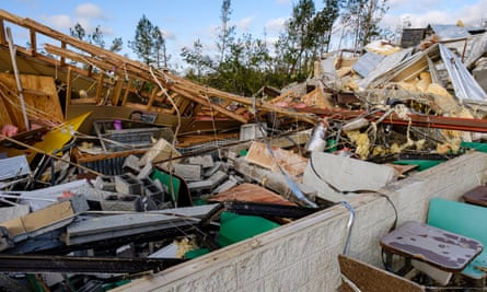 Damage caused by two tornadoes that swept through Soso, Mississippi, on 13 April.