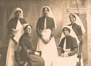 Portrait of the matron and four sisters of the Australian army nursing service. Seated (front left) is Matron Ethel Gray. The other nurses are Sisters Emily Mills, Helena Chadwick and Marguerite Mills (exact positions unknown) and Laura Cumming Pratt (standing, top right). Absent was Ruby Gourlay Kidd who was ill in hospital. They left Australia aboard the Osterley to prepare for the opening of No 1 Australian Auxiliary hospital located in Harefield, England on 4 June 1915.