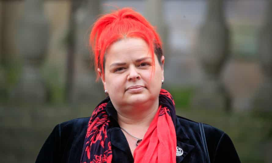 Claire Mercer arrives at Sheffield town hall for the inquest into the death of her husband, Jason Mercer.