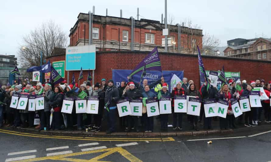 A hospital picket line in Belfast.