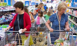 Trolleys in a supermarket