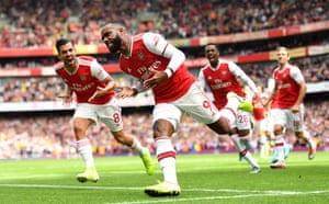 Arsenal's Alexandre Lacazette celebrates after scoring the opener.