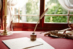 Quill and writing paper on a table at Elizabeth Farm, the home of John and Elizabeth Macarthur.