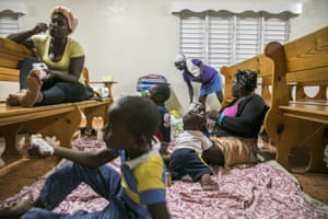 Families gather at a shelter in a local church before the arrival of Hurricane Irma in Las Terrenas, Dominican Republic.