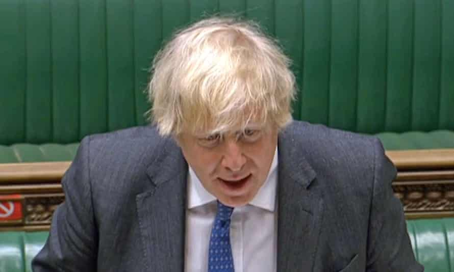 Boris Johnson speaks during prime minister's questions in the House of Commons.