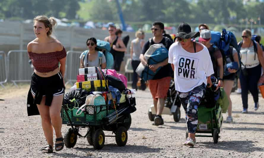 Early arrivals at Glastonbury, with waits of up to three hours due to bag checks and metal detector scans.