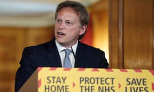 The transport secretary, Grant Shapps, at Saturday's daily briefing.