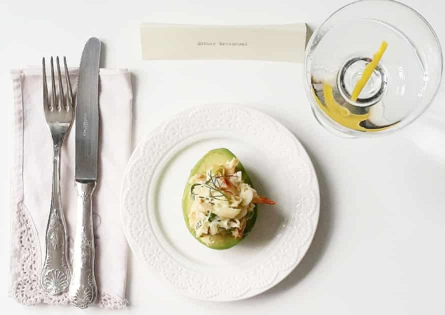 """Kate Young's """"The Bell Jar"""" avocado with crab and mustard mayonnaise."""