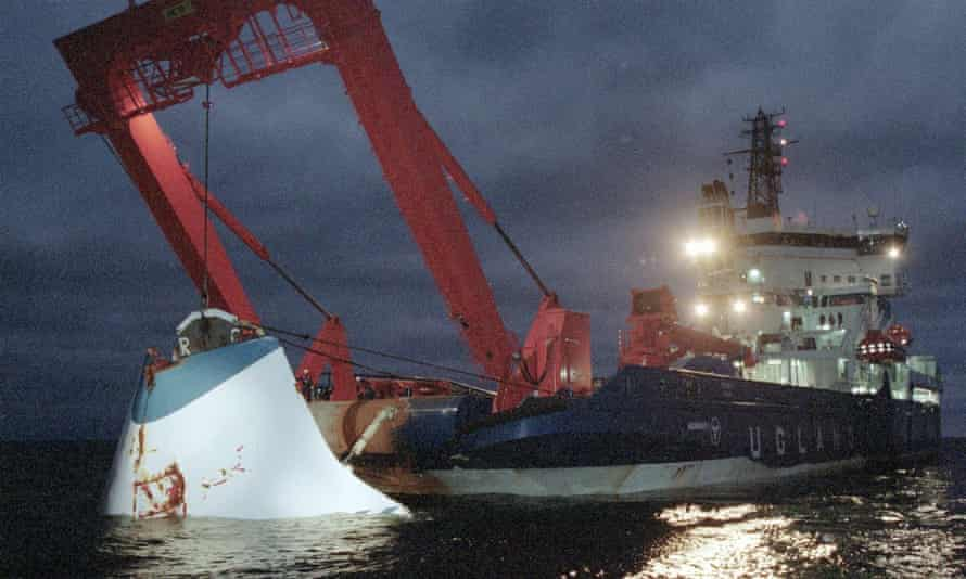 The bow door of the sunken Estonia ferry being lifted from the seabed in November 1994