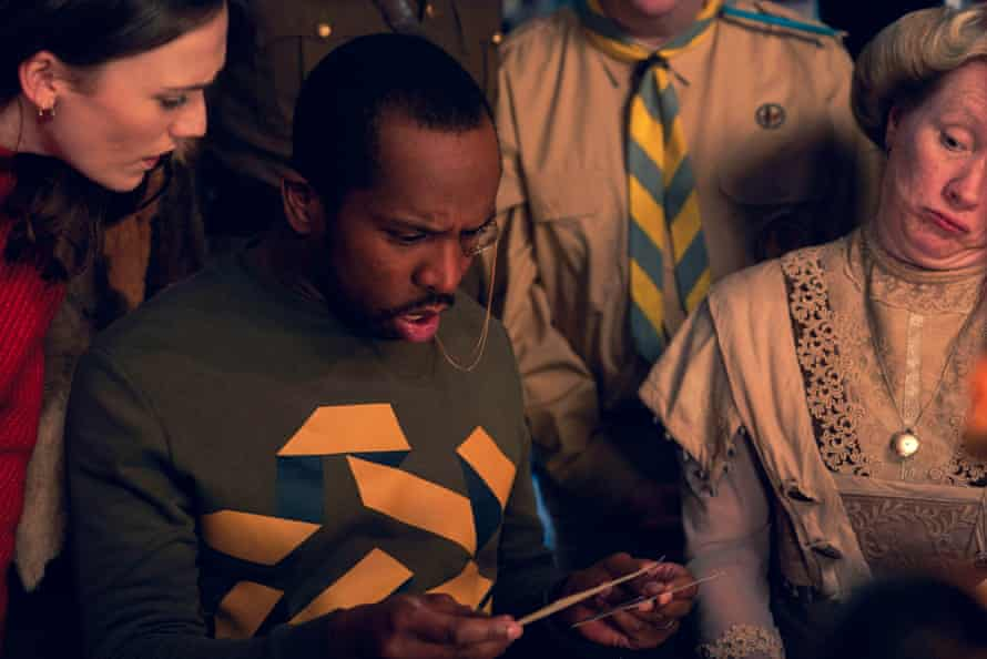 Alison (Charlotte Ritchie), Mike (Kiell Smith-Bynoe), and Lady Button (Martha Howe-Douglas) in Ghosts