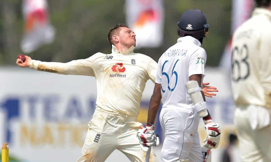 The England spinner Dom Bess, who took four wickets in Sri Lanka's second innings, bowls during the second Test in Galle.