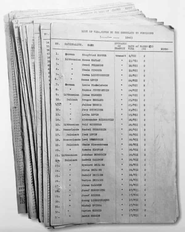 The lists of transit visas Chiune Sugihara kept in Kaunas.