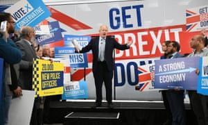 Boris Johnson speaking at the unveiling of the Conservative party's campaign bus.
