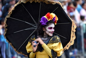 Participants are seen during the traditional 'Day of the Dead' parade at Reforma Avenue 'Day of the Dead' parade, Mexico City