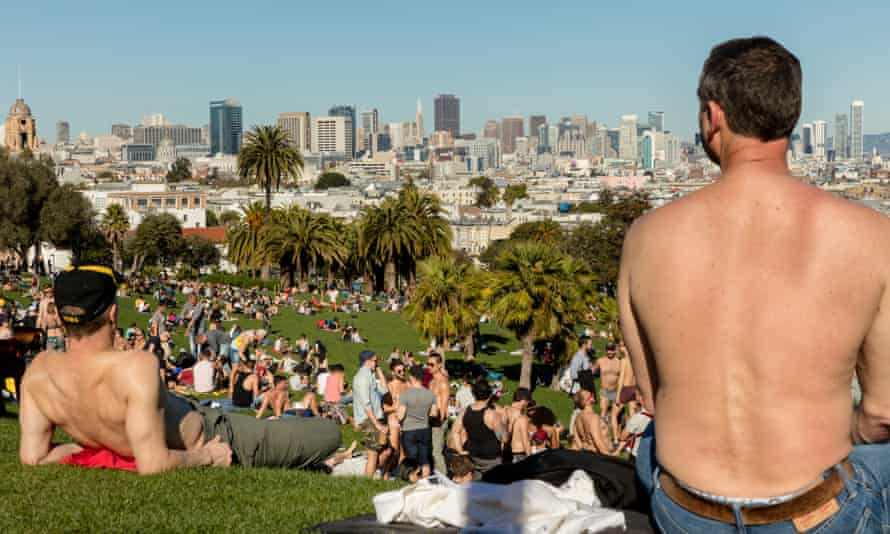 An area known as 'gay beach' in Dolores Park, San Francisco.