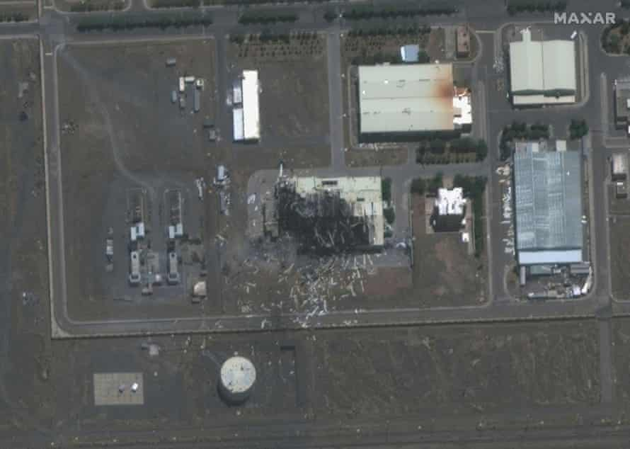 A satellite image of a building damaged by a fire at the Natanz facility last July.
