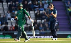 David Willey of England celebrates dismissing Imad Wasim of Pakistan.