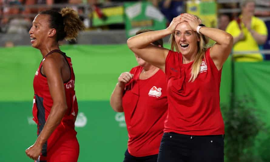 Tracey Neville looks stunned after England's last-gasp triumph over Australia.